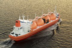 Gas carrier, gas tanker sailing in ocean. 3D rendering. Gas carrier, gas tanker sailing in ocean. 3D Stock Photography