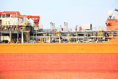 Gas-carrier for loading operation in the port Stock Photo