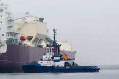 Gas carrier in port Stock Photo