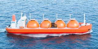 Gas carrier sailing in ocean. 3D. Gas tanker sailing in ocean. 3D rendering Stock Images