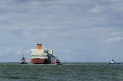 GAS CARRIER. The ship sails into the sea Royalty Free Stock Photo