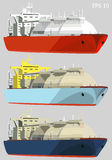 Gas carriers, LNG tankers, set, vector illustration Stock Images