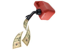 Gas cash. Photo of gas can pouring money on white background royalty free stock photo