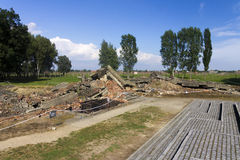Gas chamber 3 ruins in the Auschwitz II-Birkenau Royalty Free Stock Photos