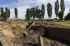 Gas chamber 2 ruins in the Auschwitz II-Birkenau Stock Image
