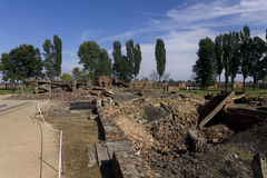 Gas chamber 2 ruins in the Auschwitz II-Birkenau Stock Photo
