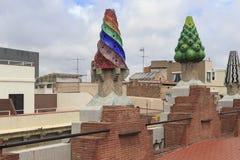 Gas chimneys Gaudi, Barcelona, Spain Royalty Free Stock Photo