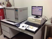Gas chromatography instrument. The image of gas chromatography instrument with FID detector Royalty Free Stock Image