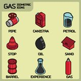 Gas color outline isometric icons Royalty Free Stock Photography