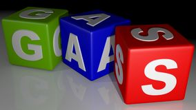 GAS colored cubes Stock Photos