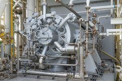 Gas compressor bundle on offshore oil and gas central processing platform. Stock Photos