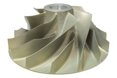 Gas compressor impeller mad from aluminium machined with CNC machine isolate on white background. Stock Photos