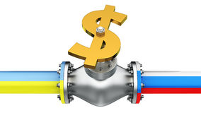 Gas conflict. Dollar valve on the pipeline of Russia and Ukraine, concept of gas conflict Royalty Free Stock Photos