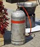 Gas container and cauldron Royalty Free Stock Photo