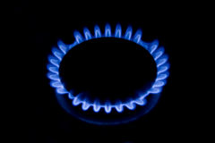 Gas coocker. Flower of a flame of a house gas cooker in darkness Stock Image