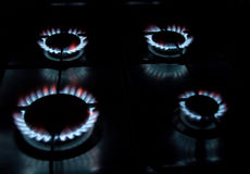 Gas cook. Four gas flames on the gas stove Royalty Free Stock Image