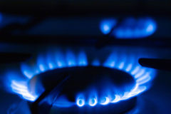 Gas cooker. Torch of a gas cooker on kitchen Royalty Free Stock Photo