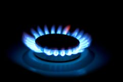 Gas cooker. Three Gas-ring. night light. gassing, Gas cooker Royalty Free Stock Photography