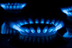 Gas cooker with burning fire Stock Photo