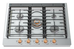 Gas cooker with oven top view closeup, 3D rendering Stock Photography
