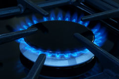 Gas cooker. Gas ring on a domestic cooker or stove Royalty Free Stock Photos