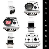 Gas cooker set Royalty Free Stock Images