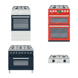 Gas cooker set vector illustration isolated on white background Royalty Free Stock Photo