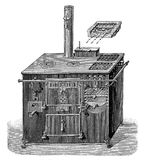 Gas cooking stove, XIX century engraving Stock Photos