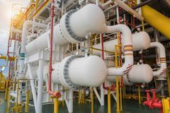 Gas cooler at oil and gas central processing platform, Heat exchanger shell and tube type Stock Photos