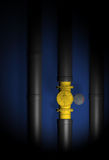 Gas crisis 2. Gas crisis. blue fuel. black pipe Royalty Free Stock Image