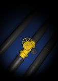 Gas crisis. Natural gas. blue fuel. black pipe Royalty Free Stock Photos