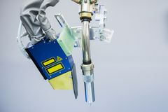 Gas cutter on the robot arm. Close up Royalty Free Stock Images
