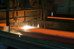 Gas cutting of the hot metal Stock Image