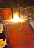 Gas cutting of the hot metal Stock Photos