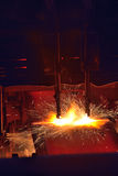 Gas cutting of the hot metal Royalty Free Stock Image