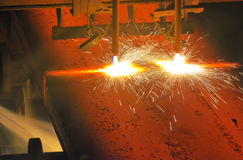 Gas cutting of the hot metal Stock Photography