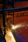 Gas cutting of the hot metal Royalty Free Stock Photos