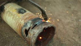 Gas cutting of metal. Sparks are flying stock video