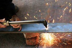 Gas cutting torch. Gas cuting torch with flame cut the metal Royalty Free Stock Photos