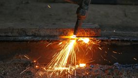 Gas cutting stock footage