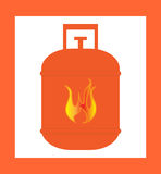 Gas cylinder design orange. Vector silhouette Royalty Free Stock Photos