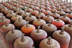 Gas cylinder rows Stock Images