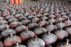 Gas cylinder rows Stock Photos