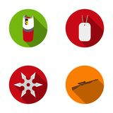 A gas cylinder, a soldier`s token, a sniper rifle, a shuriken. Weapons set collection icons in flat style vector symbol. Stock illustration Stock Photo