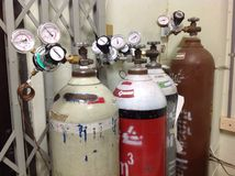 Gas cylinder. A gas cylinder or tank is a pressure vessel used to store gases at above atmospheric pressure. High-pressure gas cylinders are also called bottles stock photos