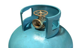 Gas Cylinder Valve Closeup. A closeup of the valve of a clean unbranded blue metal gas cylinder on an isolated white background Stock Photography