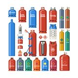 Gas cylinder vector lpg gas-bottle and gas-cylinder illustration set of cylindrical container with liquefied compressed. Gases with high pressure and valves Royalty Free Stock Photography
