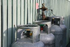 Gas Cylinders. Domestic use gas cyclinders for hot water and cooking Royalty Free Stock Images