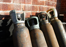 Gas Cylinders. Industrial image of 4 gas cylinders stock image