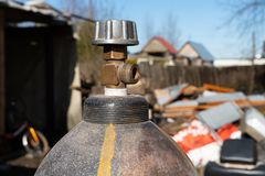 Gas cylinders at the construction site close up stock photos